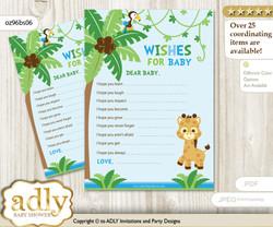 Boy Giraffe Wishes for a Baby, Well Wishes for a Little Giraffe Printable Card, Safari, Blue Green