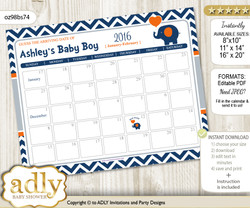 Boy Elephant Baby Due Date Calendar, guess baby arrival date game