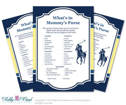 Boy Polo What is in Mommy's Purse, guess purse Game Printable Card for Baby Polo  Shower DIY navy yellow sport shower - ONLY digital file - aa22bs13