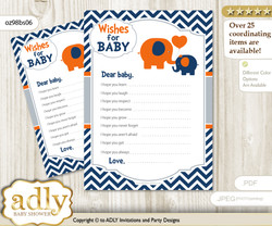 Boy Elephant Wishes for a Baby, Well Wishes for a Little Elephant Printable Card, Chevron, Chevron