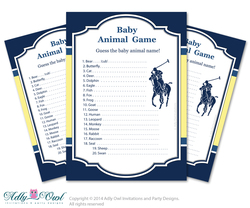 Boy Polo Baby Animal Game, guess Animals Printable Card for Baby Polo  Shower DIY navy yellow sport shower