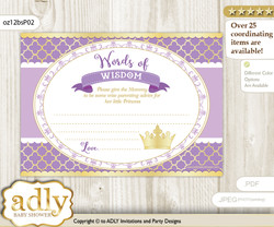 Gold Purple Princess Words of Wisdom or an Advice Printable Card for Baby Shower, Royal