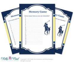 Boy Polo Memory Game for Baby Shower Printable Card for Baby Polo  Shower DIY navy yellow sport shower - ONLY digital file