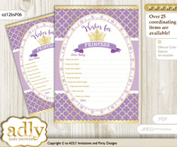 Purple Princess Wishes for a Baby, Well Wishes for a Little Princess Printable Card, Royal, Gold