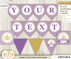 Personalized Purple Princess Printable Banner for Baby Shower, Gold, Royal