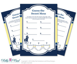 Boy Polo Dirty Diaper Game, Guess Sweet Mess for Baby Shower Printable Card for Baby Polo Shower DIY navy yellow sport shower - ONLY digital file