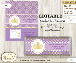 Personalizable Purple Princess Chocolate Bar Candy Wrapper Label for Purple  baby shower, birthday Gold , Royal
