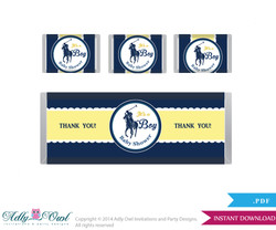 Boy Polo Chocolate Bar Wrapper and Nuggets Candy Wrapper Printable Label for Baby Boy Shower DIY navy yellow , sport shower