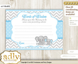 Boy Elephant Words of Wisdom or an Advice Printable Card for Baby Shower, Chevron