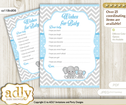 Boy Elephant Wishes for a Baby, Well Wishes for a Little Elephant Printable Card