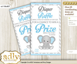Boy Elephant Diaper Raffle Printable Tickets for Baby Shower