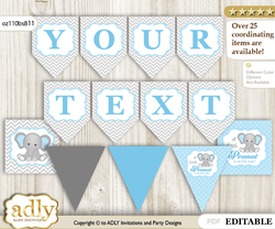 Personalized Boy Elephant Printable Banner for Baby Shower, Blue Grey