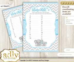 Baby ABC's Game, guess Animals Printable Card for Baby Elephant Shower DIY – Chevron