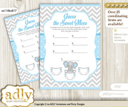 Game or Guess Sweet Mess Game for a Baby Shower Blue Grey, Chevron
