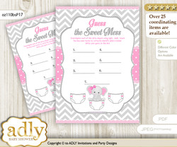 Girl Elephant Dirty Diaper Game or Guess Sweet Mess Game for a Baby Shower Grey Pink, Chevron