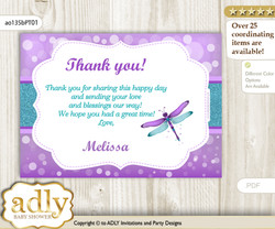 Girl Dragonfly Thank you Printable Card with Name Personalization for Baby Shower or Birthday Party