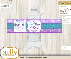 Girl Dragonfly Water Bottle Wrappers, Labels for a Dragonfly  Baby Shower, Purple Teal, Glitter