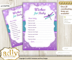 Girl Dragonfly Wishes for a Baby, Well Wishes for a Little Dragonfly Printable Card, Glitter, Purple Teal