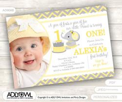 Yellow Grey Elephant First Birthday Invitation with Photograph, DIY card