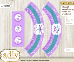 Printable Girl Dragonfly Cupcake, Muffins Wrappers plus Thank You tags for Baby Shower Purple Teal, Glitter