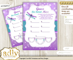 Girl Dragonfly Dirty Diaper Game or Guess Sweet Mess Game for a Baby Shower Purple Teal, Glitter