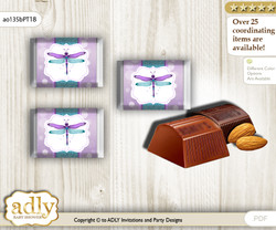 Girl Dragonfly Chocolate Nuggets Candy Wrapper Label for Baby Girl Shower  Purple Teal , Glitter