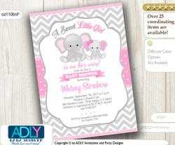 Grey Chevron Girl Elephant with Pink Polka Invitation for Baby Shower