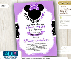 Minnie Mouse Invitation with big Purple Bow, digital baby shower invitation