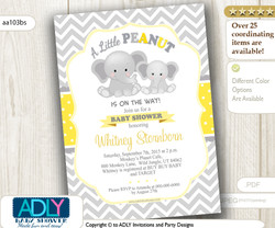 Yellow Grey Elephant with Chevron and Polka Invitation for Baby Shower, for boy or gender neutral