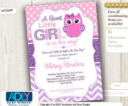 Purple Pink Girl Owl Baby Shower Invitation, lavender