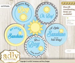 Baby Shower Boy Sunshine Cupcake Toppers Printable File for Little Boy and Mommy-to-be, favor tags, circle toppers, chevron, blue grey