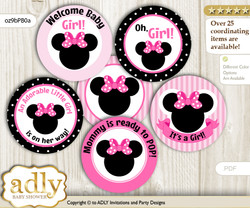 Baby Shower Girl Minnie Cupcake Toppers Printable File for Little Girl and Mommy-to-be, favor tags, circle toppers, Mouse, Pink Black