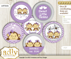 Baby Shower Twins Monkey Cupcake Toppers Printable File for Little Twins and Mommy-to-be, favor tags, circle toppers, Girls, Lavender