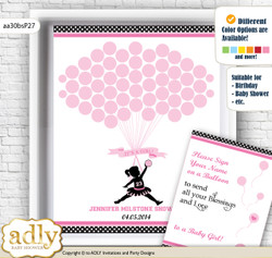 Girl MVP Guest Book Alternative for a Baby Shower, Creative Nursery Wall Art Gift, Pink Black, Basketball