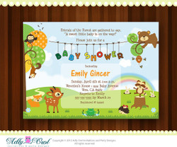 Personalized Forest/Woodland Baby Shower Printable DIY party invitation with forest animals - ONLY digital file - you print - Instant Download
