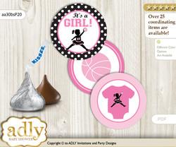 Printable  Girl MVP Candy Kisses for Baby Girl Shower DIY Pink Black , Basketball
