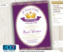 Purple Princess Baby Shower invitation for girl, pink, gold,golden crown,royal shower,plum,violet princess shower