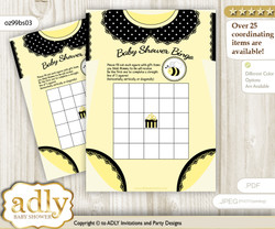 Printable Yellow Black Bee Bingo Game Printable Card for Baby Girl Shower DIY grey, Yellow Black, Polka