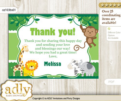 Boy Jungle Thank you Printable Card with Name Personalization for Baby Shower or Birthday Party