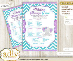 Girl Elephant What is in Mommy's Purse, Baby Shower Purse Game Printable Card , Purple teal,  Peanut