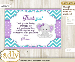 Girl Elephant  Printable Card with Name Personalization for Baby Shower or Birthday Party