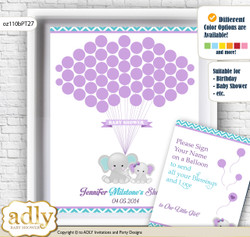 Girl Elephant Guest Book Alternative for a Baby Shower, Creative Nursery Wall Art Gift, Purple teal, Peanut