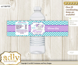 Girl Elephant Water Bottle Wrappers, Labels for a Elephant  Baby Shower, Purple teal, Peanut