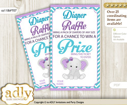 Girl Elephant Diaper Raffle Printable Tickets for Baby Shower, Purple teal, Peanut