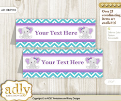 Printable Girl Elephant Buffet Tags or Food Tent Labels  for a Baby Shower or Birthday , Purple teal, Peanut