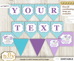 Personalized Girl Elephant Printable Banner for Baby Shower, Purple teal, Peanut