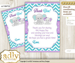 Girl  Elephant Thank you Cards for a Baby Girl Shower or Birthday DIY Purple teal, Peanut