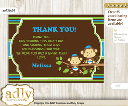 Twins Monkey Thank you Printable Card with Name Personalization for Baby Shower or Birthday Party