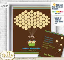 Twins Monkey Guest Book Alternative for a Baby Shower, Creative Nursery Wall Art Gift, Green Blue, Boys