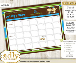 Twins Monkey Baby Due Date Calendar, guess baby arrival date game
